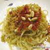 Bavette in salsa di avocado e pomodorini secchi